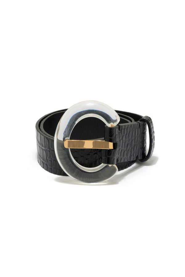 LIZZIE FORTUNATO Sophia Belt in Black Croc