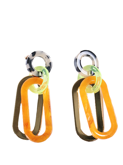 RACHEL COMEY Sour Earring - Orange Marble Multi-Gold