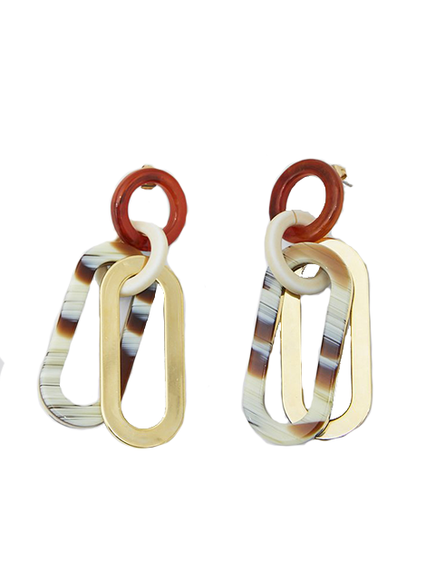 RACHEL COMEY Sour Earring - Striped Bone Multi-Gold