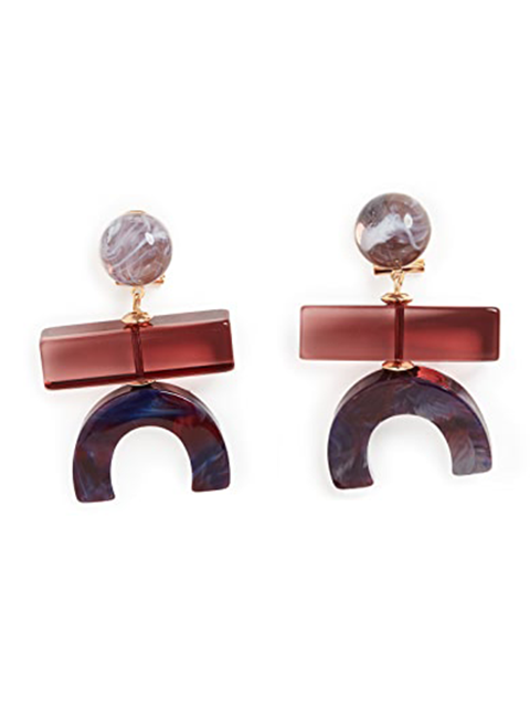 RACHEL COMEY Stroller Earring - Red/Purple Marble