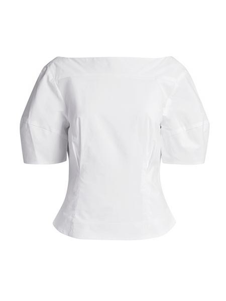 RACHEL COMEY Dillinger Top Short sleeve top in fitted poplin Twin reverse pleat details at front and back waist Seam shaping at sleeves adds volume to the shoulders Front yoke seam