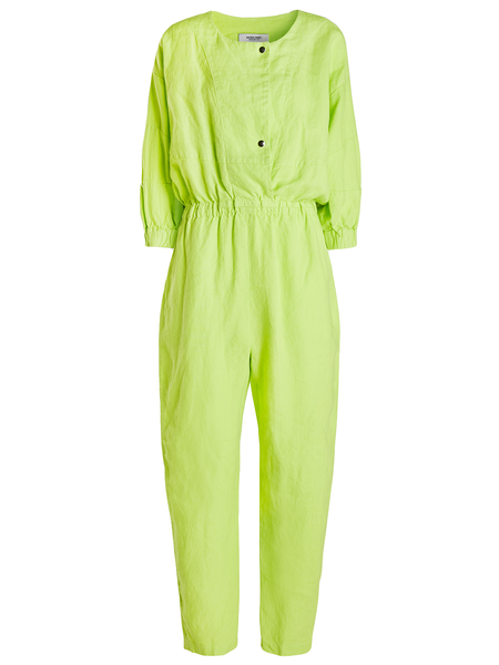 RACHEL COMEY Holt Jumpsuit Easy linen jumpsuit with elasticized waist Puffy sleeves with seam shaping and dropped shoulder Vent along upper midline with double snap closure Side slip