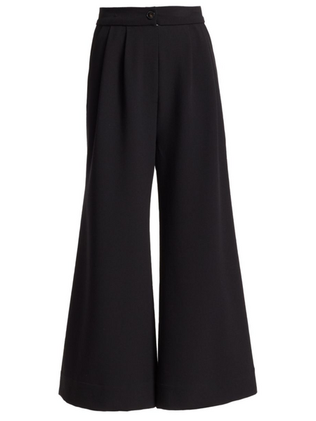 Rachel Comey Matteo Pant Pleated pant Wide leg with slight flare Sits at the waist Slant pockets at the hips Elasticized panel at back waistband Faux fly detail Concealed side zipper