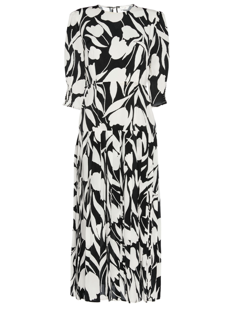 RIXO LONDON Sheree Abstract Tulip Elbow Sleeve Floral Dress