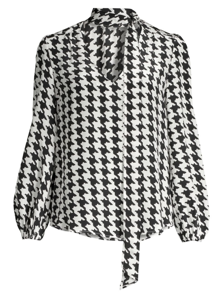 RIXO LONDON Moss Houndstooth Mono Print 3/4 Sleeve Top