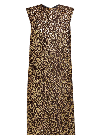 ROCHAS Leopard Print Sleeveless Dress - Dark Brown