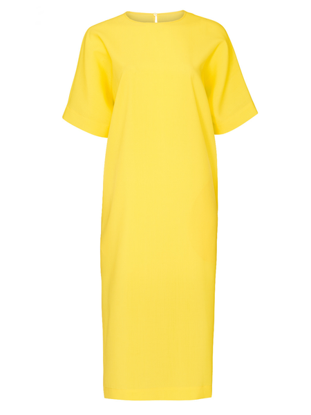ROCHAS Osprey Elbow Sleeve Long Shirtdress w/ side slit - Light/Pastel Yellow