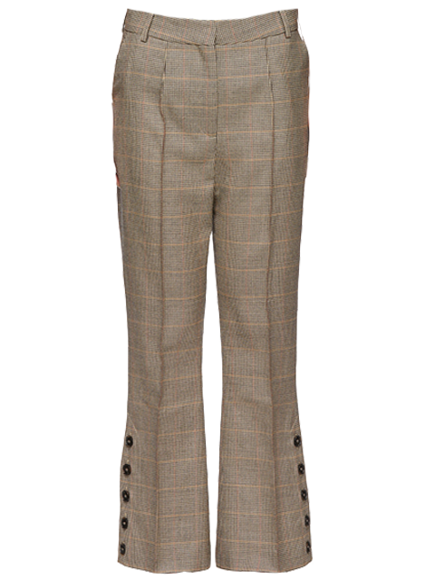 ROKH Brown/Black Check Button Slit Trousers