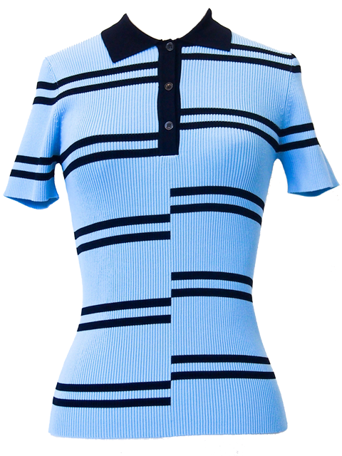 ROKH Intarsia Stripe Jersey Polo- Pale Blue and Navy