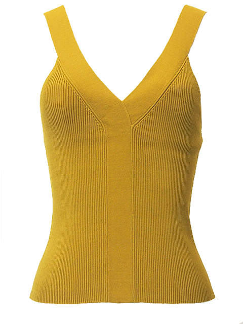 ROKH KNITTED V NECK VEST LIME GREEN