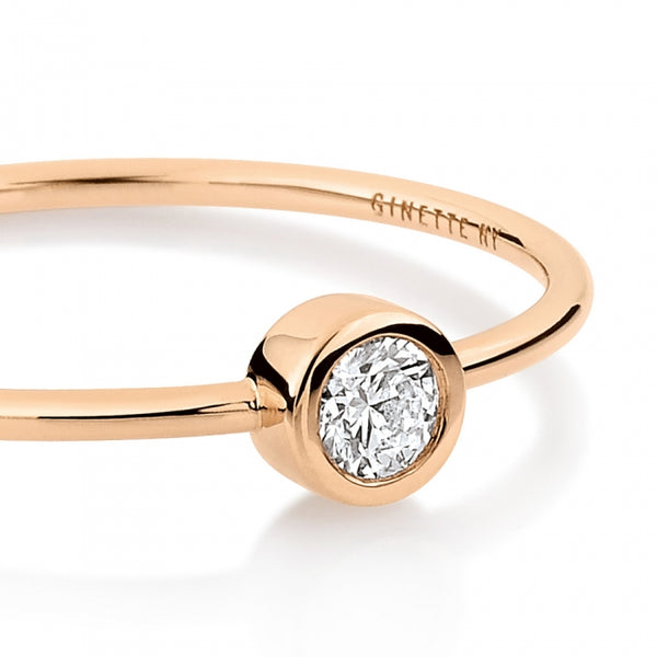 GINETTE NY Medium Lonely Diamond Ring 18K Rose GOld
