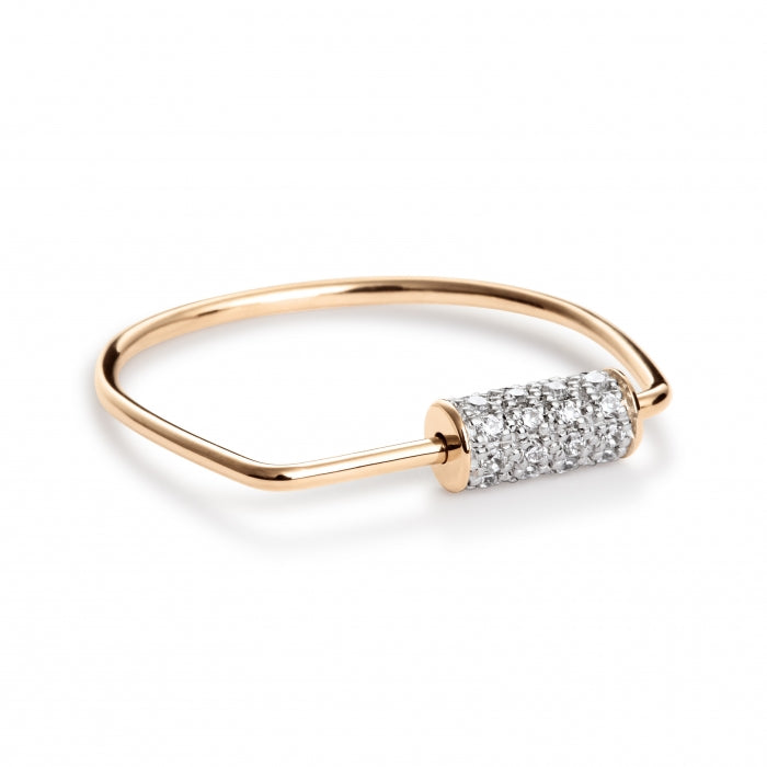 GINETTE NY Mini Straw Diamond Ring 18K Rose Gold