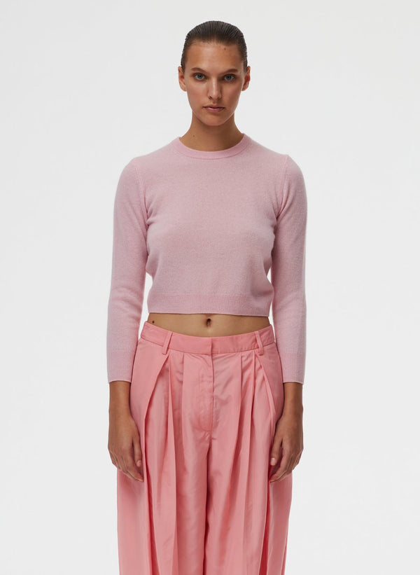 TIBI Featherweight Cashmere Cropped Sweater