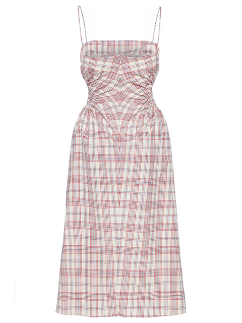 ROKH Checked Ruched Poplin Midi Dress