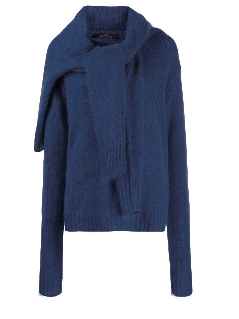 ROKH Double Tie Front Sweater - Navy