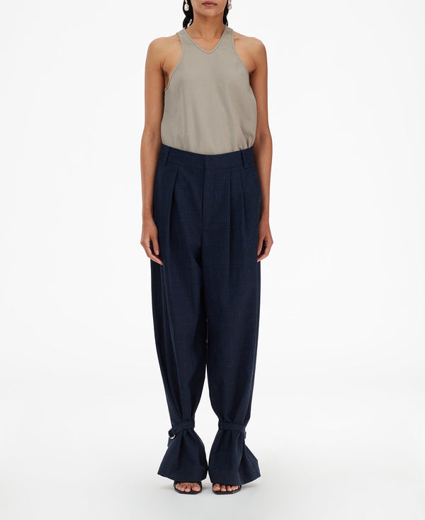 TIBI Crosshatch Suiting Stella Pleat Pant