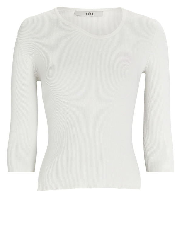 TIBI Giselle Ribbed Open Back Sweater