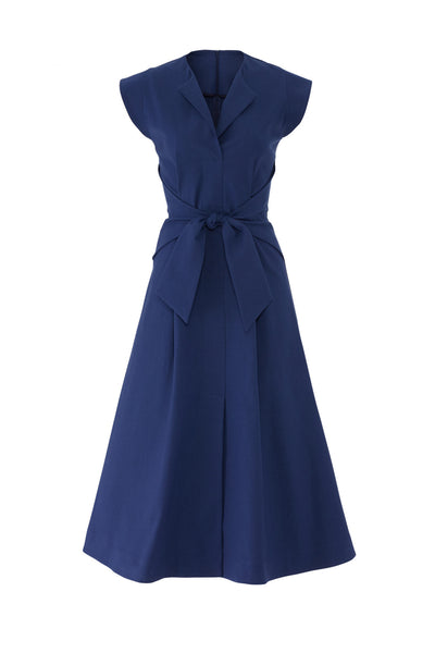 SEA Lennox Tie Front Blue Midi Dress