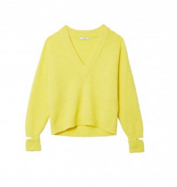 TIBI V-Neck Pullover w/ Arm Band - Acid Yellow