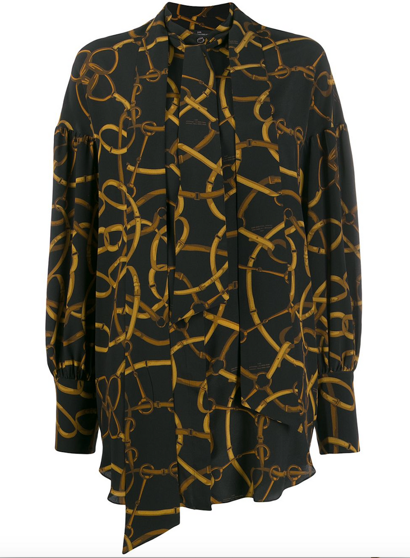 ROKH Double Tie Neck Blouse - Dark Chain Print