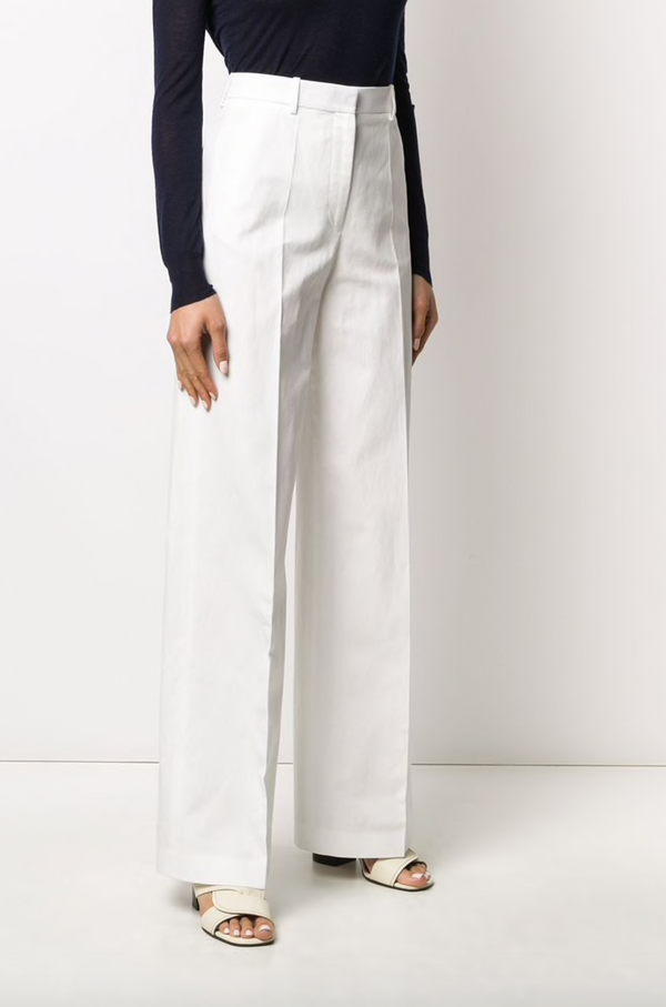 JOSEPH Alana Cotton Linen Canvas Trouser - Ivory