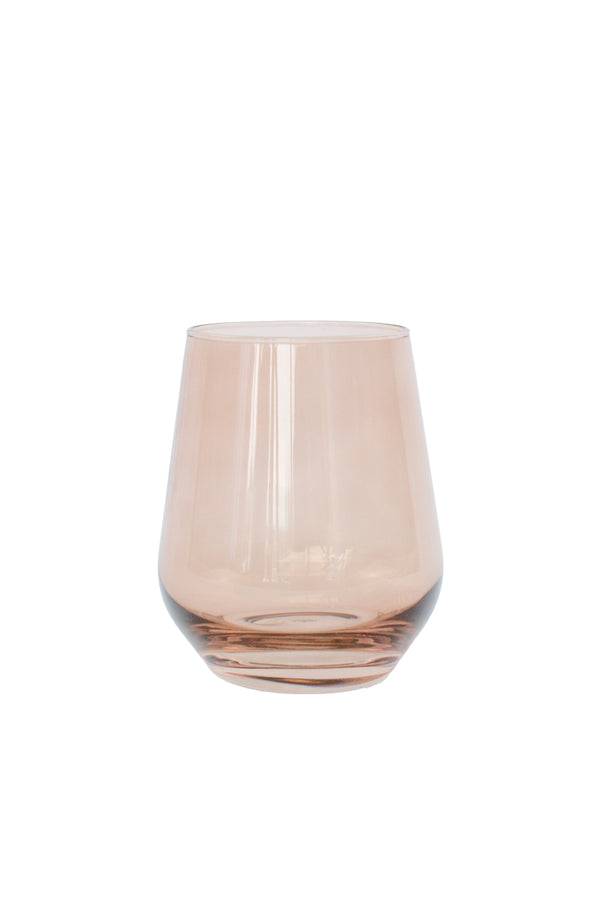 Estelle Colored Glass Wine Stemless in Amber Smoke (Set of 6)