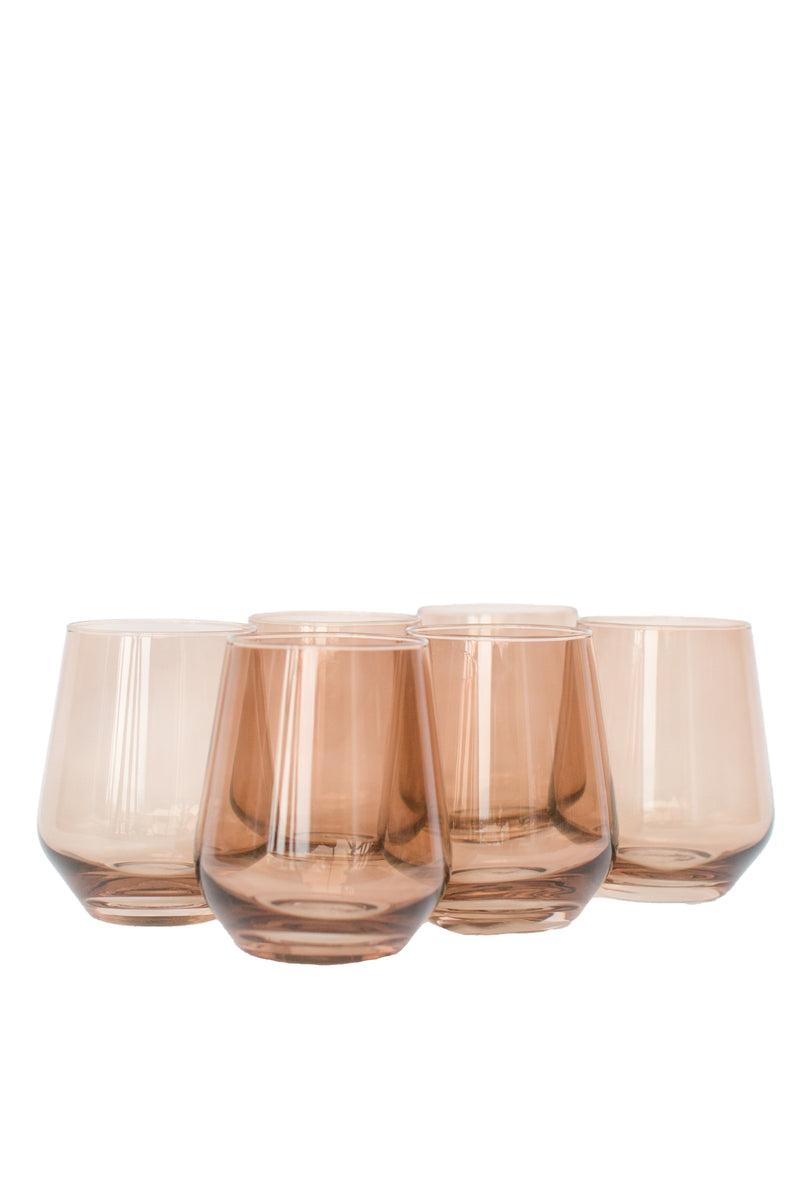 Estelle Colored Glass Wine Stemless Set - Amber Smoke
