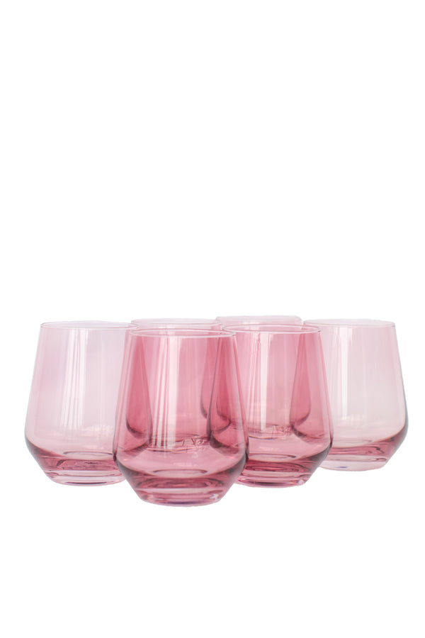 Estelle Colored Glass Wine Stemless Set - Rose