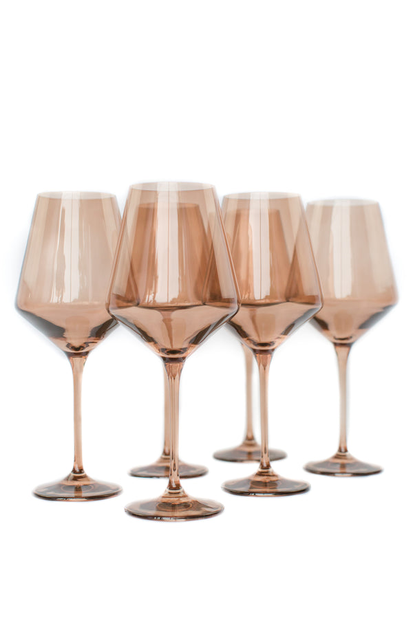 Estelle Colored Glass Wine Stemware Set - Amber Smoke