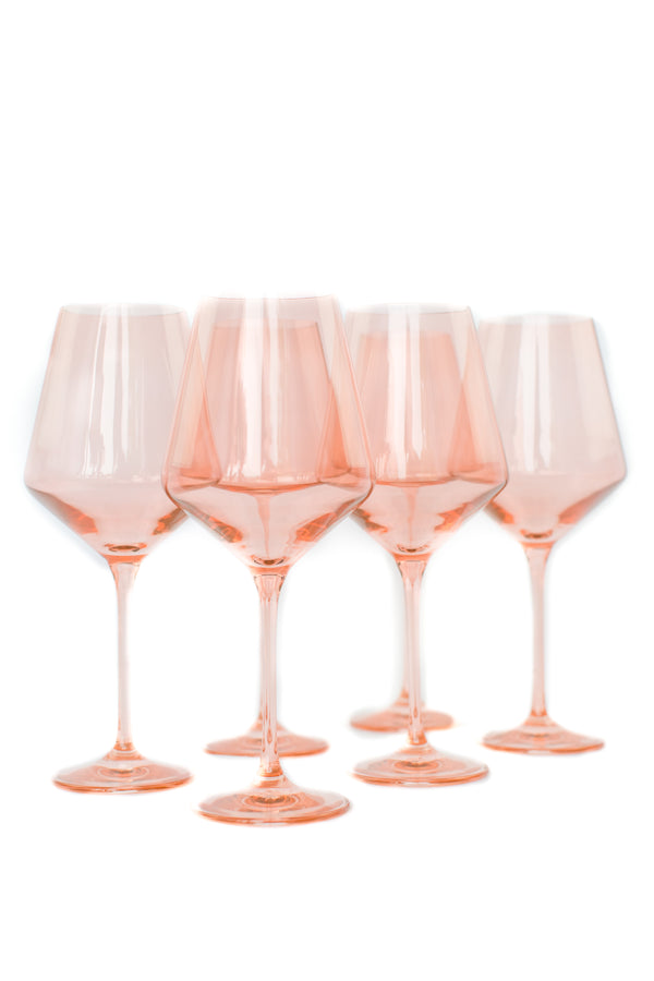 Estelle Colored Glass Wine Stemware Set - Blush Pink