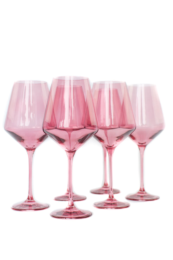 Estelle Colored Wine Stemware Set - Rose