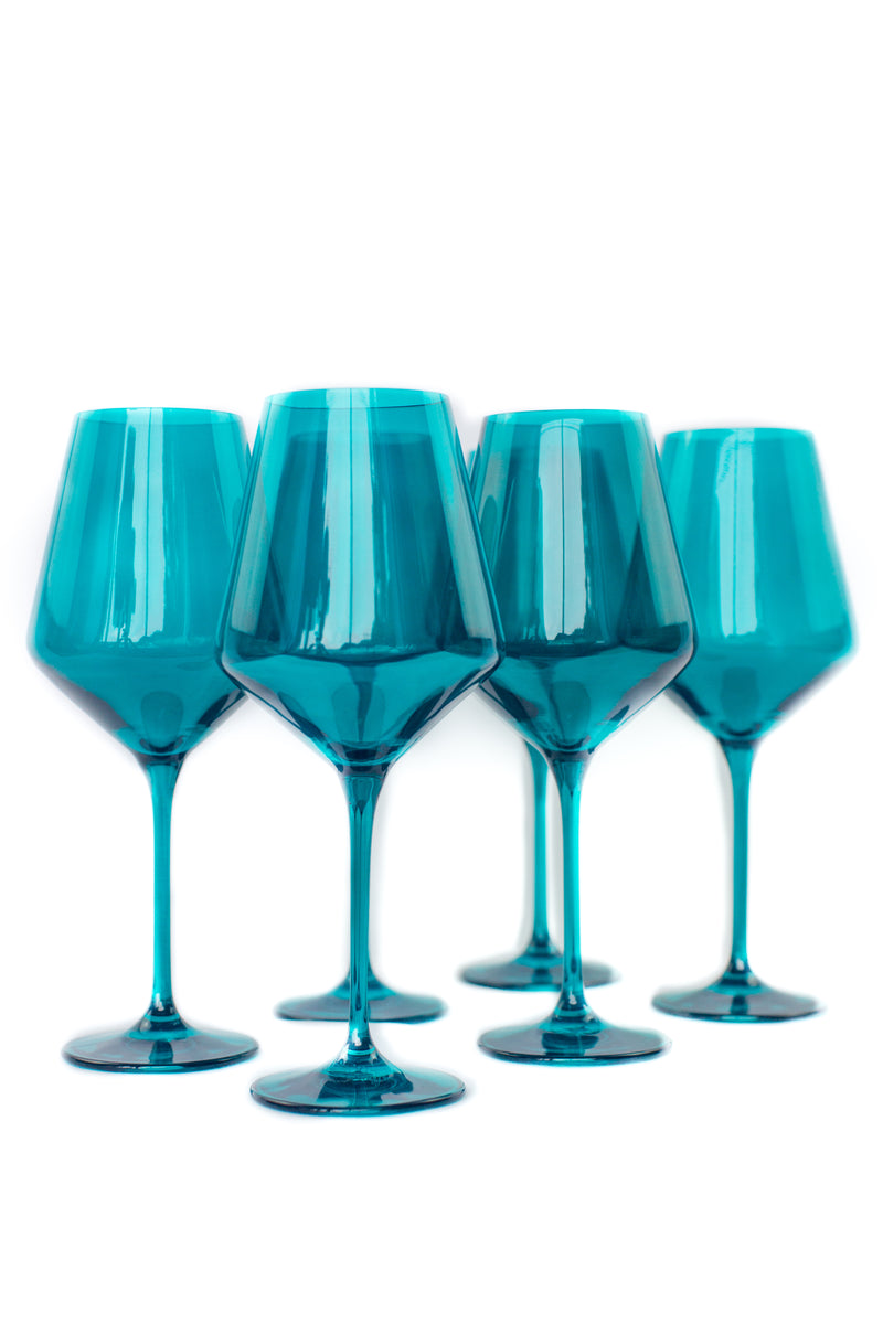 ESTELLE Colored Glass Wine Stemware Set - Teal
