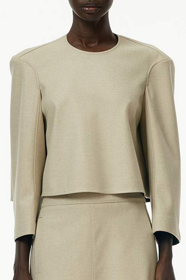 TIBI BONDED FLANNEL CROPPED TOP