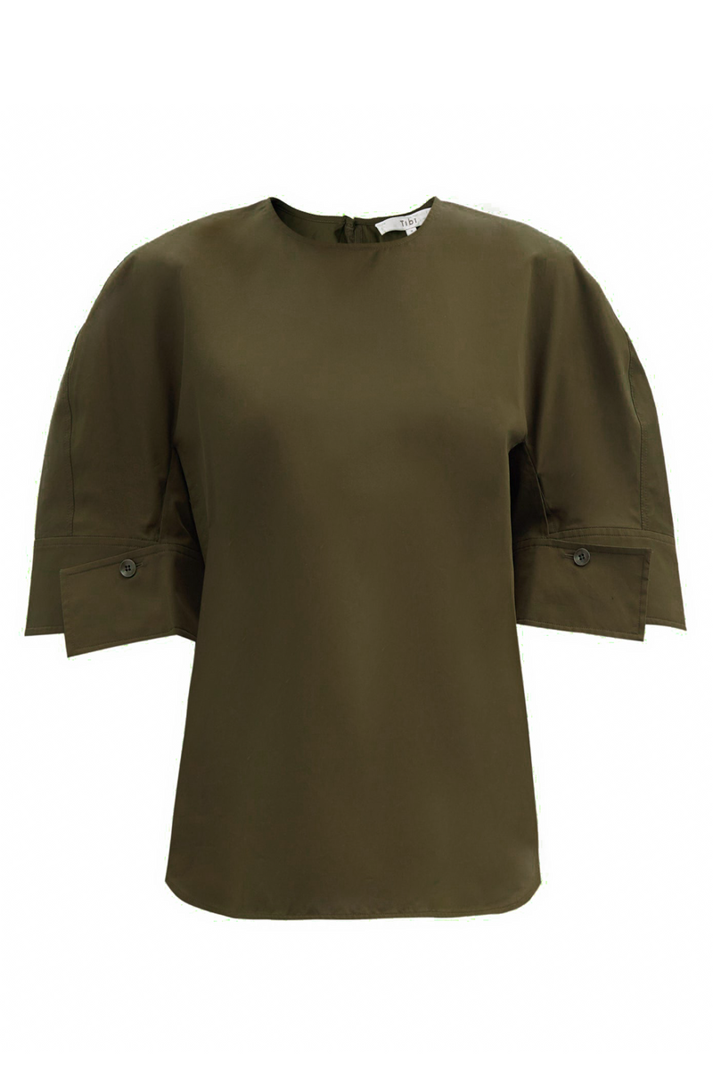 TIBI Eco Poplin Reverse Sleeve Top