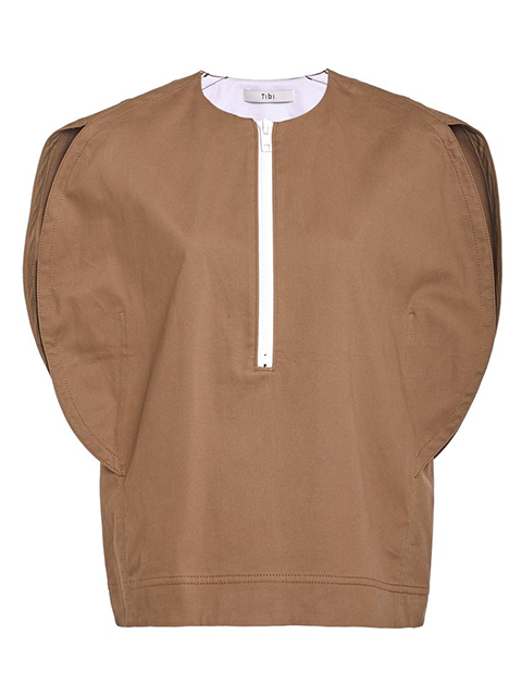 TIBI Myriam Twill Balloon Origami Top