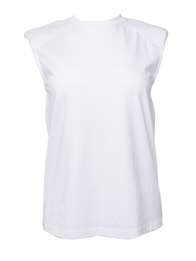TIBI T-Shirt Program Padded Shoulder Sleeveless Top / White