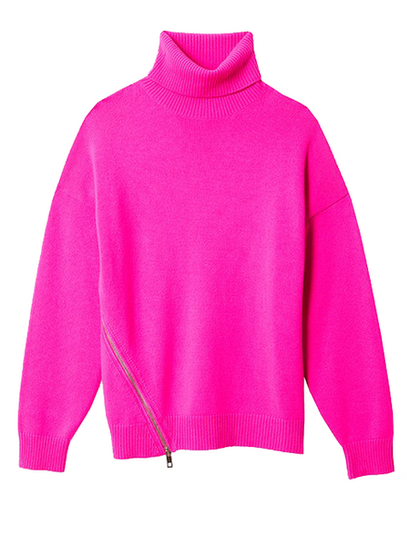 TIBI Cashmere Turtleneck Sweater - Neon Magenta