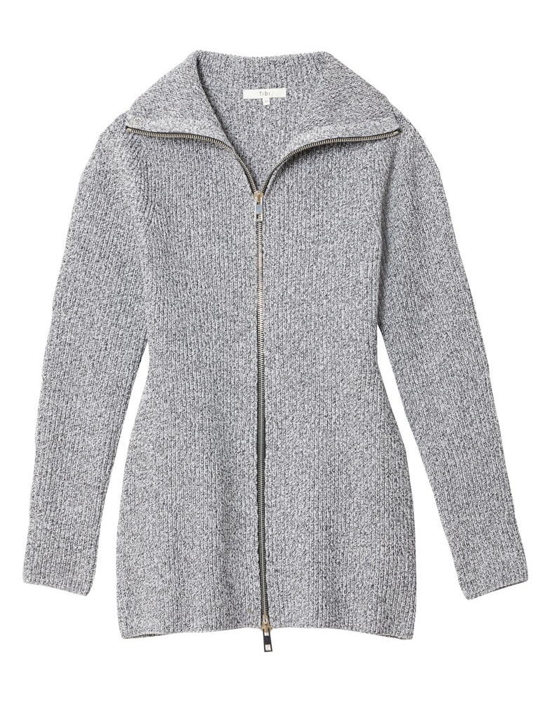 TIBI Sweater Outerwear Sculpted Zipup Jacket