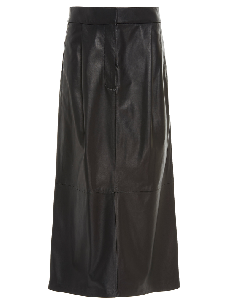 TIBI Black Tissue Leather Pleated Skirt