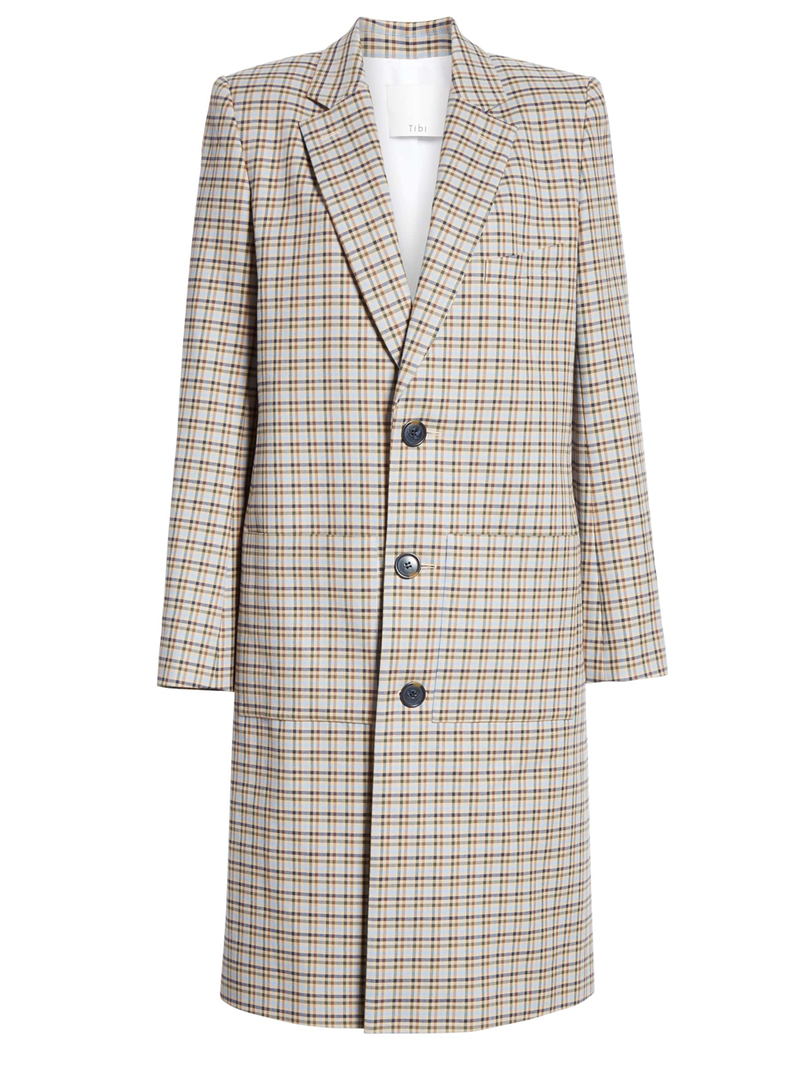 TIBI  Zion Plaid Outerwear Lab Coat - Tan Multi