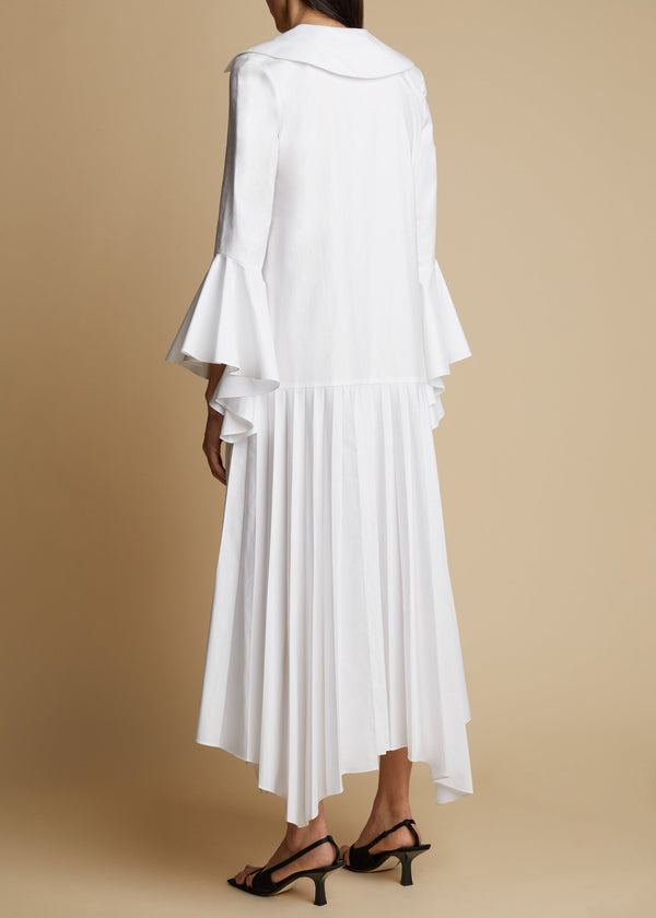 KHAITE Tove Pleated Midi Dress