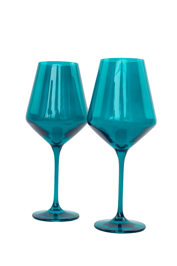 ESTELLE Colored Glass Wine Stemware in Teal (Set of 6)