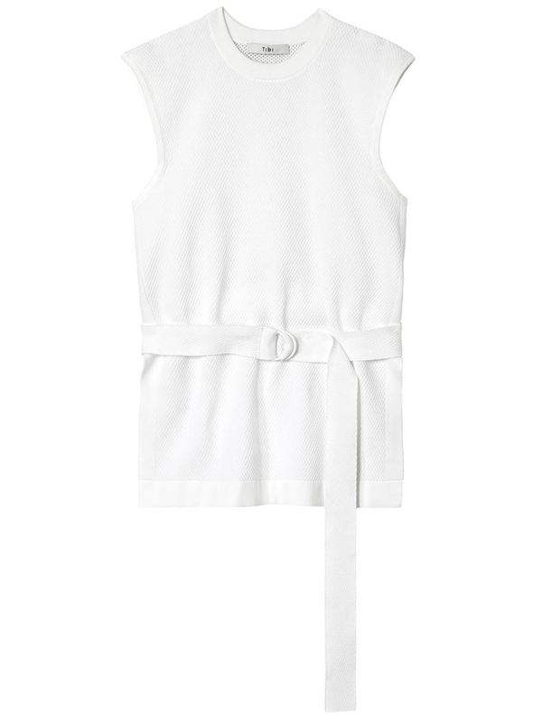 TIBI Sleeveless White Tunic Pullover