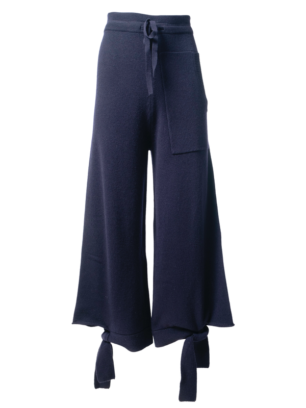 TIBI Cashmere Tie Lounge Sweatpants / Navy
