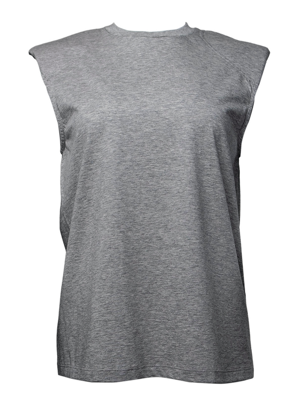 TIBI T-Shirt Program Padded Shoulder Sleeveless Top / Heather Grey
