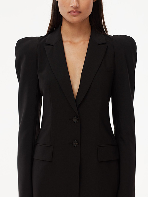 TIBI Tropical Wool Sculpted Sleeve Tailored Blazer