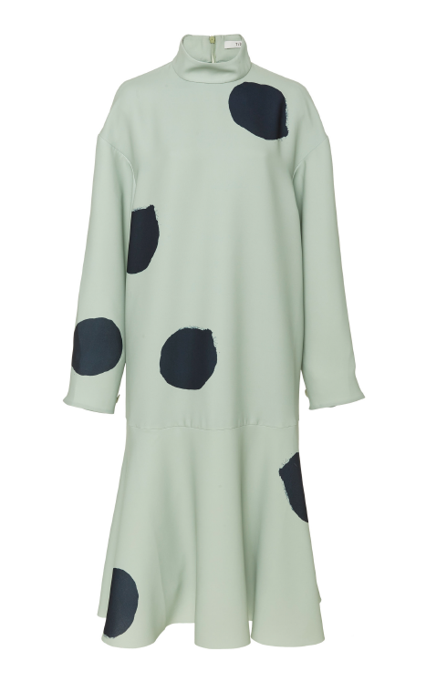 TIBI Large Polka Dot Sculpted Drop Waist Dress
