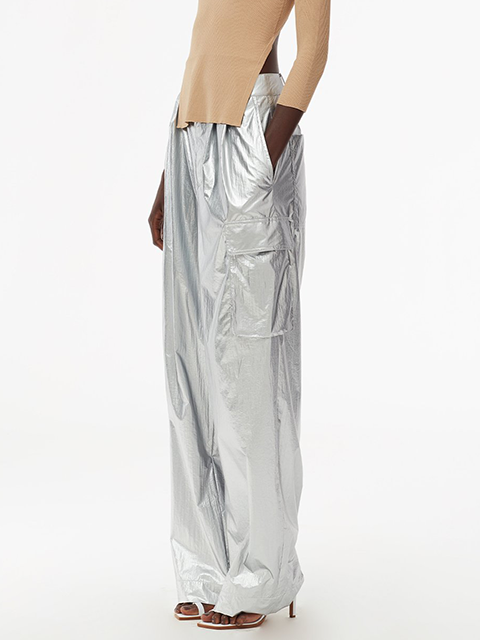 TIBI Metallic Nylon Pleated Cargo Pant