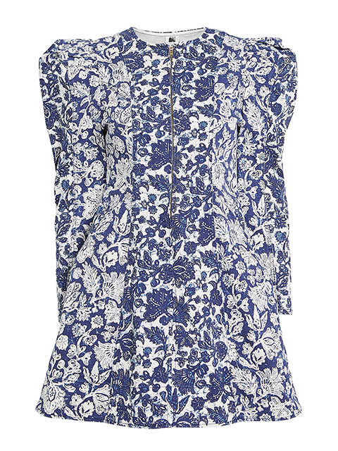 ULLA JOHNSON Wren Denim Dress - Floral Patchwork