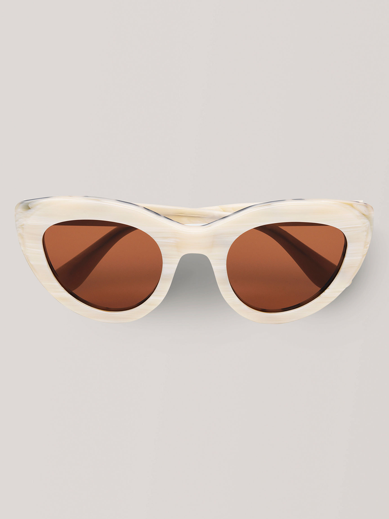 GANNI Triangle Sunglasses White